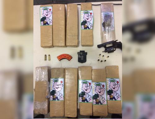PM apreende arma de fogo e drogas na cidade de Lagarto